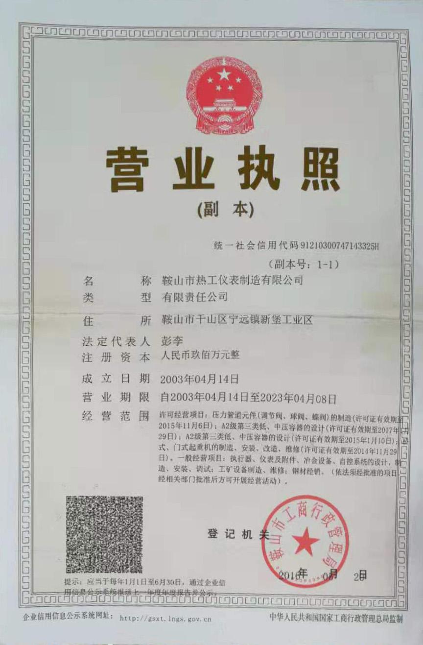 鞍山市热工仪表制造有限公司